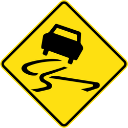 Slippery road surface ahead - Road Sign
