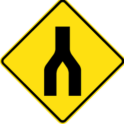 Warning for two roads that merge - Road Sign