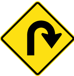 Warning for a U-turn - Road Sign