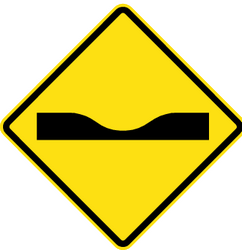 Warning for a dip in the road - Road Sign