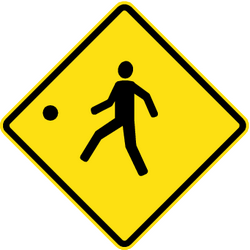Warning for a playground - Road Sign