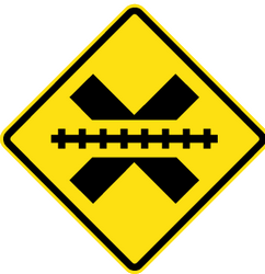 Rail crossing without barriers ahead - Road Sign