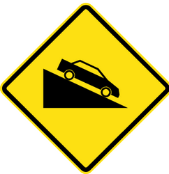 Steep descent ahead - Road Sign