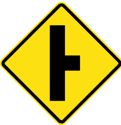 Warning for an uncontrolled crossroad with a road from the right - Road Sign