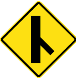Warning for an uncontrolled crossroad with a sharp road from the right - Road Sign