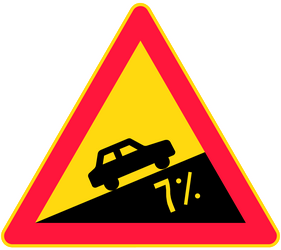 Steep ascent ahead - Road Sign
