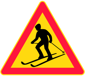 Warning for skiers - Road Sign