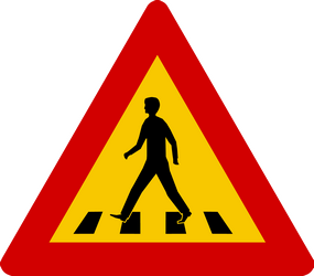 Crossing for pedestrians warning ahead - Road Sign