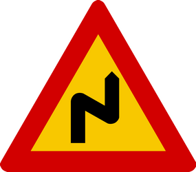 Road bends right then left - Road Sign