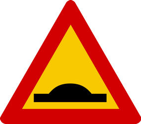 Speed bumps in road - Road Sign