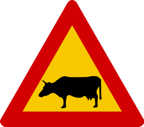 Cattle crossing - Road Sign
