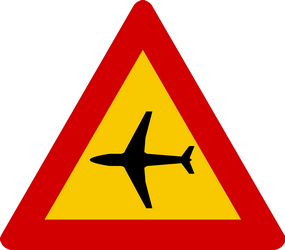 Warning for low lfying planes, aircraft and jets - Road Sign