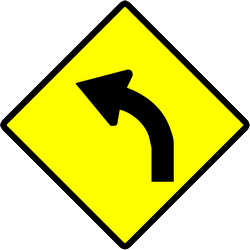 Road ahead curves to the left side - Road Sign