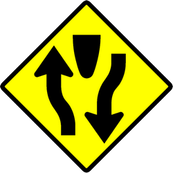 Warning for a divided road - Road Sign