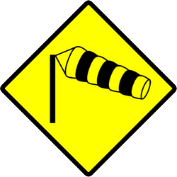 Heavy crosswinds in area warning - Road Sign