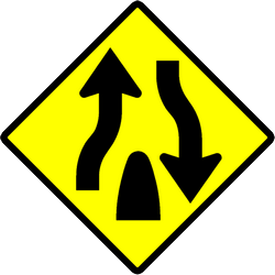Warning for the end of a divided road - Road Sign