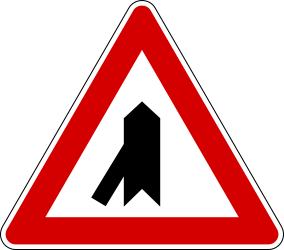 Crossroad with sharp side road on left side - Road Sign