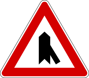 Crossroad with sharp side road on right side - Road Sign