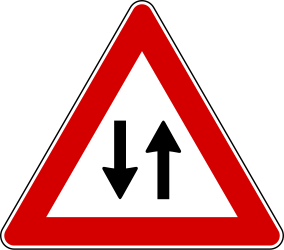 Two-way traffic ahead - Road Sign