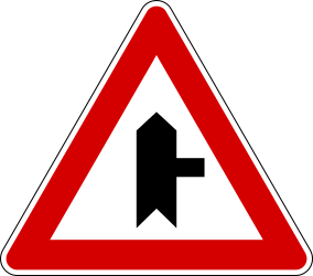 Side road on the right warning - Road Sign
