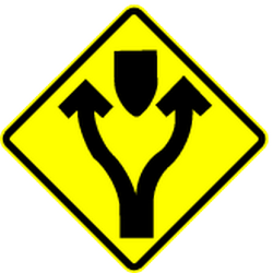 Warning for an obstacle, pass either side - Road Sign