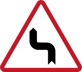 Warning for a double sharp curve, first left then right - Road Sign