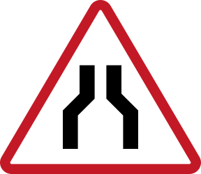 road narrows ahead - Road Sign