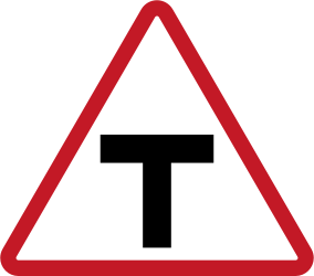 Warning for an uncontrolled T-crossroad - Road Sign