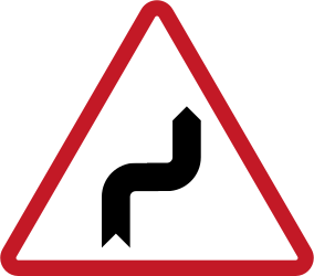 Warning for sharp curves, first right then left - Road Sign