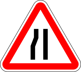 Road narrows on the left - Road Sign