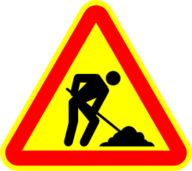 Roadworks ahead warning - Road Sign