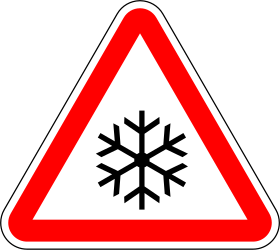Warning for snow and sleet - Road Sign