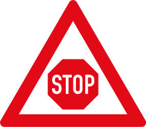 Warning Stop and give way ahead - Road Sign