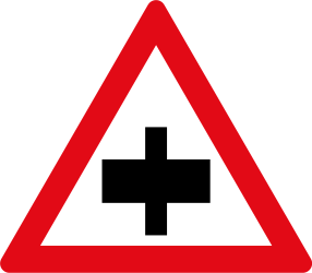 Warning for a crossroad, give way to all drivers - Road Sign