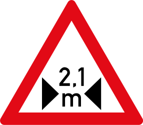 Warning for a limited width - Road Sign