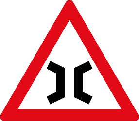 Warning for a narrowing - Road Sign