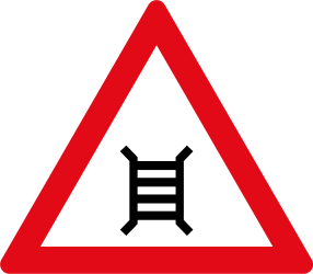 Railroad crossing ahead with barriers - Road Sign