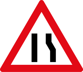 Road gets narrow on the right side - Road Sign