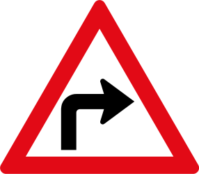 Warning for a sharp curve to the right - Road Sign