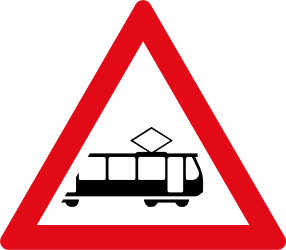 Warning for rail vehicle - trams - Road Sign