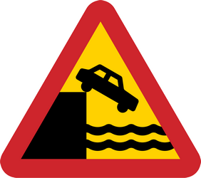 Warning for a quayside or riverbank - Road Sign