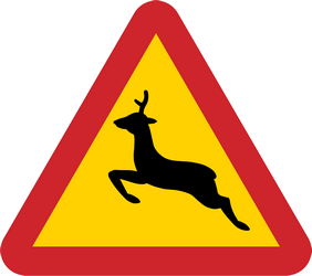 Deer crossing in area - road - Road Sign