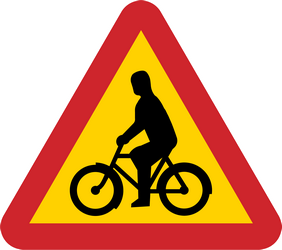 Warning for bikes and cyclists - Road Sign