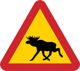 Warning for moose on the road - Road Sign