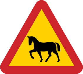 Warning for wild horses on the road - Road Sign