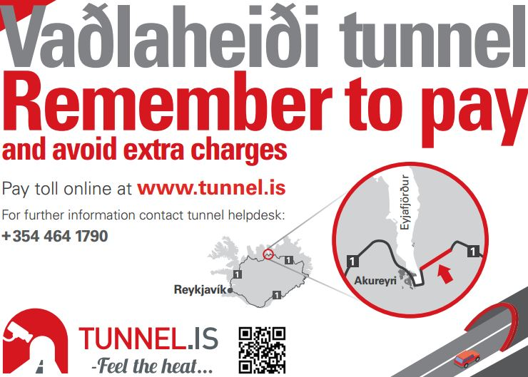 Vadlaheidi Tunnel Toll Warning
