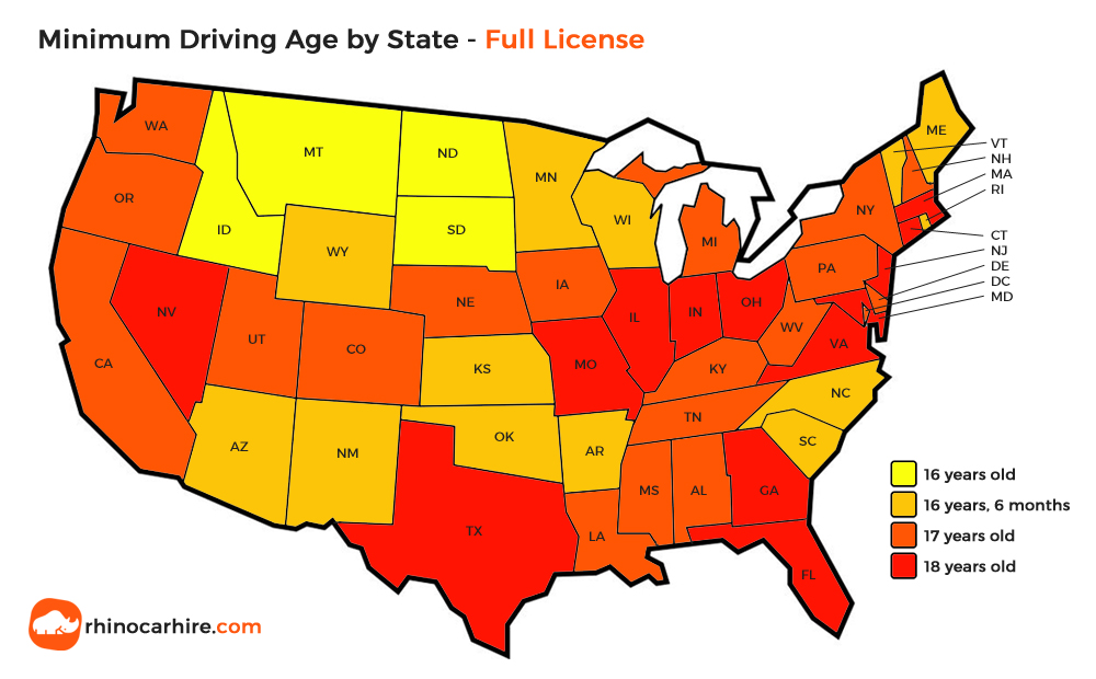 us state minimum driving age full license