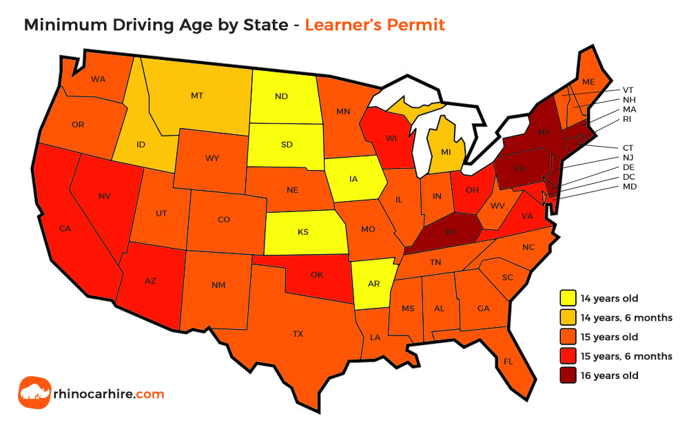 us state minimum driving age learner