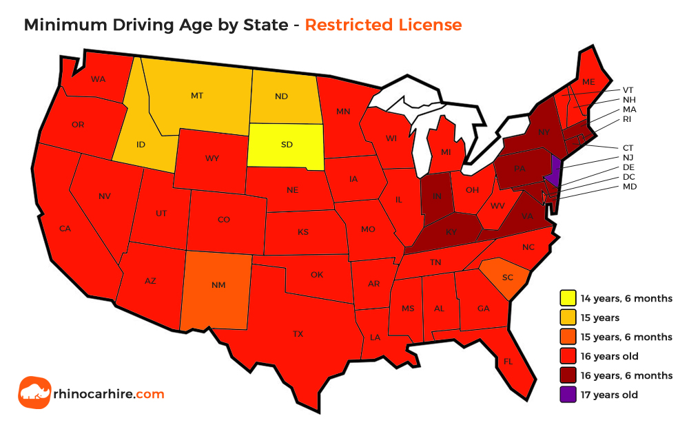 us state minimum driving age restricted