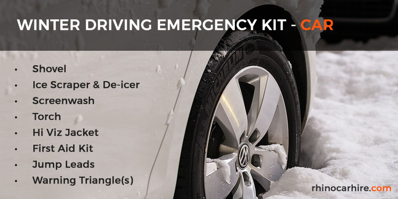 winter driving emergency kit for car